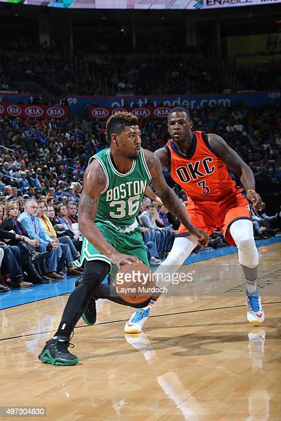 Marcus Smart of the Boston Celtics handles the ball against the Oklahoma City Thunder on November 15 2015 at Chesapeake Energy Arena in Oklahoma City...