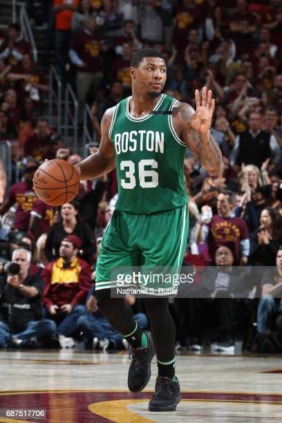 Marcus Smart of the Boston Celtics handles the ball against the Cleveland Cavaliers in Game Four of the Eastern Conference Finals during the 2017 NBA...