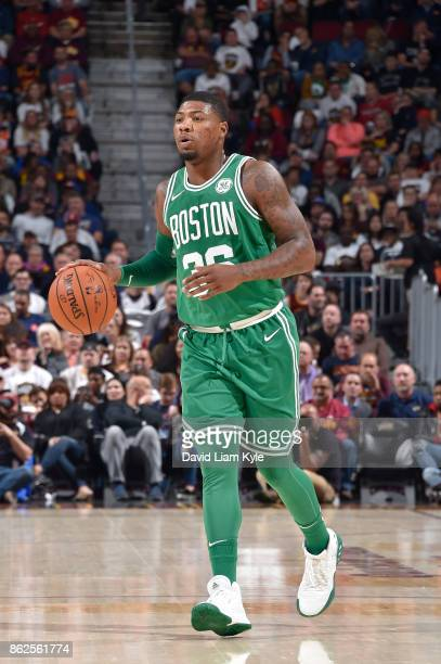 Marcus Smart of the Boston Celtics handles the ball against the Cleveland Cavaliers on October 17 2017 at Quicken Loans Arena in Cleveland Ohio NOTE...