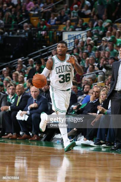 Marcus Smart of the Boston Celtics handles the ball against the Milwaukee Bucks on October 18 2017 at the TD Garden in Boston Massachusetts NOTE TO...