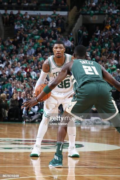 Marcus Smart of the Boston Celtics handles the ball against the Milwaukee Bucks on October 18 2017 at the TD Garden in Boston Massachusetts NOTE TO...