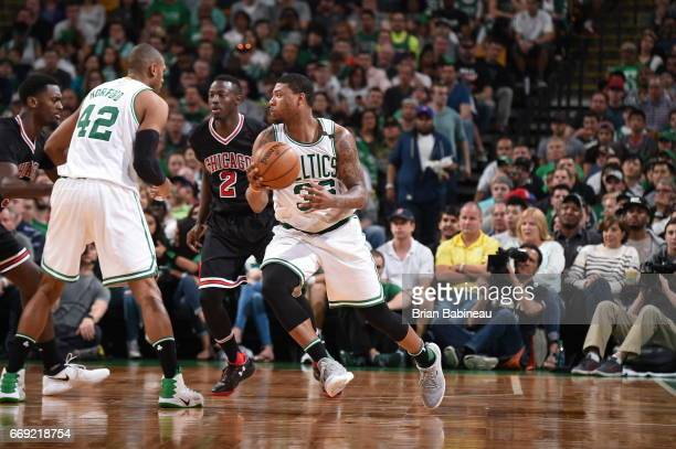 Marcus Smart of the Boston Celtics handles the ball against the Chicago Bulls during the Eastern Conference Quarterfinals of the 2017 NBA Playoffs on...
