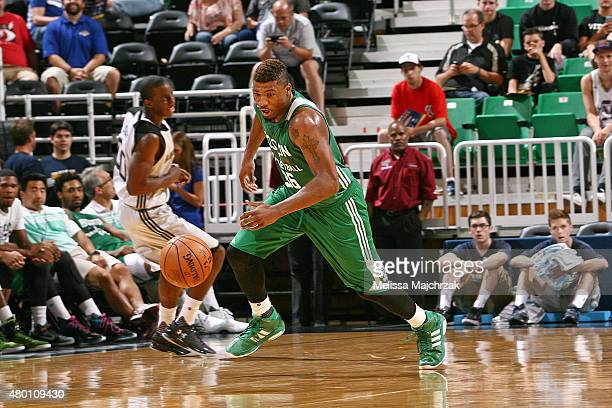 Marcus Smart of the Boston Celtics handles the ball against the San Antonio Spurs during the Utah Jazz Summer League on July 9 2015 at...