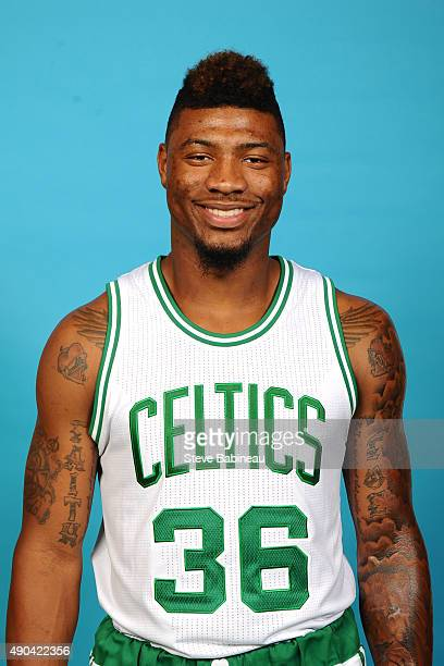 Marcus Smart of the Boston Celtics poses for media day on September 25 2015 at the Boston Celtics Training Center in Waltham Massachusetts NOTE TO...
