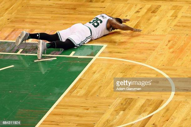 Marcus Smart of the Boston Celtics reacts on the court in the second half against the Cleveland Cavaliers during Game One of the 2017 NBA Eastern...