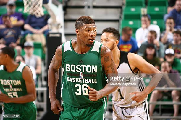 Marcus Smart of the Boston Celtics reacts to a play against the San Antonio Spurs during the Utah Jazz Summer League game on July 9 2015 at...