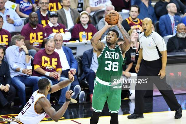 Marcus Smart of the Boston Celtics shoots against the Cleveland Cavaliers in the first half during Game Three of the 2017 NBA Eastern Conference...