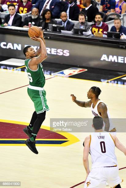 Marcus Smart of the Boston Celtics shoots against the Cleveland Cavaliers in the second half during Game Three of the 2017 NBA Eastern Conference...