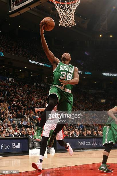 Marcus Smart of the Boston Celtics shoots against the Toronto Raptors on April 4 2015 at the Air Canada Centre in Toronto Ontario Canada NOTE TO USER...