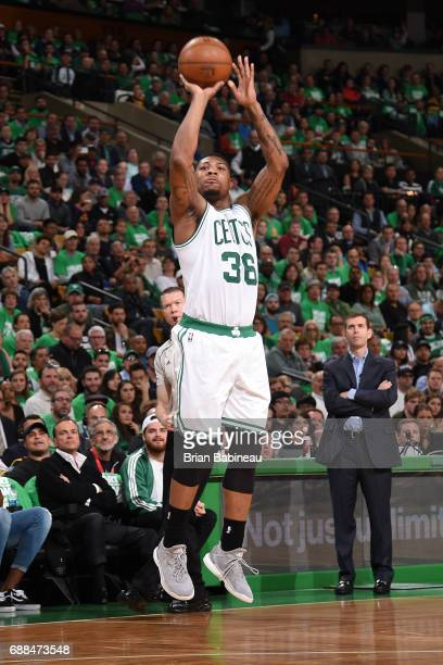 Marcus Smart of the Boston Celtics shoots the ball against the Cleveland Cavaliers in Game Five of the Eastern Conference Finals of the 2017 NBA...