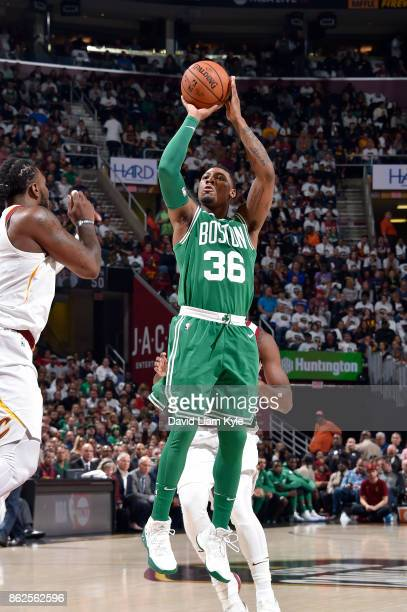 Marcus Smart of the Boston Celtics shoots the ball against the Cleveland Cavaliers on October 17 2017 at Quicken Loans Arena in Cleveland Ohio NOTE...