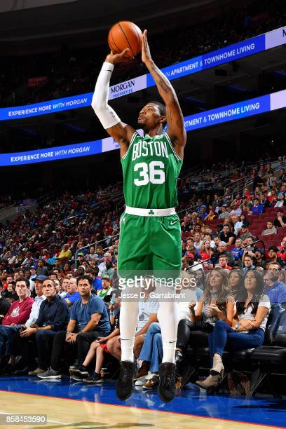 Marcus Smart of the Boston Celtics shoots the ball during the game against the Philadelphia 76ers during a preseason on October 6 2017 at Wells Fargo...
