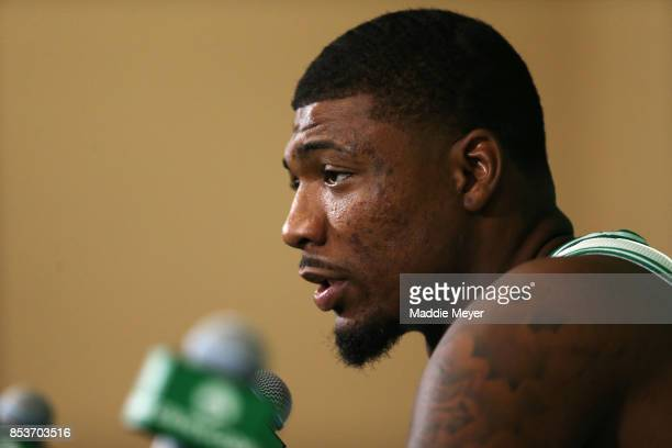 Marcus Smart of the Boston Celtics takes questions from the media during Celtics Media Day at High Output Studios on September 25 2017 in Canton...