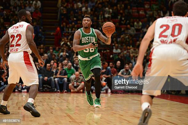 Marcus Smart the Boston Celtics dribbles against Emporio Armani Milano as part of the 2015 Global Games on October 6 2015 at the Mediolanum Forum...
