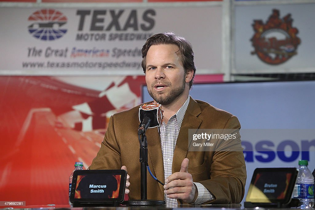 Marcus Smith speaks during the press conference for the unveiling of 'Big Hoss' the largest HD video board in the world at Texas Motor Speedway on March 19, 2014 in Fort Worth, Texas.