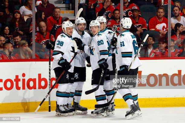 Marcus Sorensen Micheal Haley and teammates of the San Jose Sharks celebrate a goal against the Calgary Flames during an NHL game on March 31 2017 at...