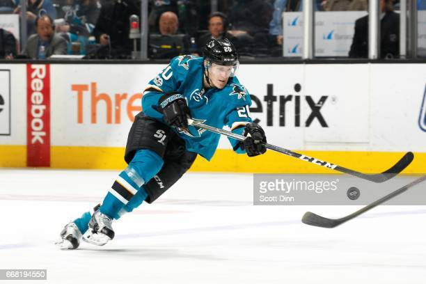 Marcus Sorensen of the San Jose Sharks chases the puck during a NHL game against the Calgary Flames at SAP Center at San Jose on April 8 2017 in San...