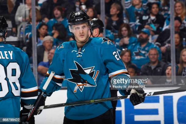 Marcus Sorensen of the San Jose Sharks looks on during the game against the Calgary Flames at SAP Center on April 8 2017 in San Jose California
