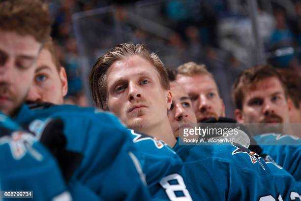 Marcus Sorensen of the San Jose Sharks looks on during the National anthem of the game against the Calgary Flames at SAP Center on April 8 2017 in...