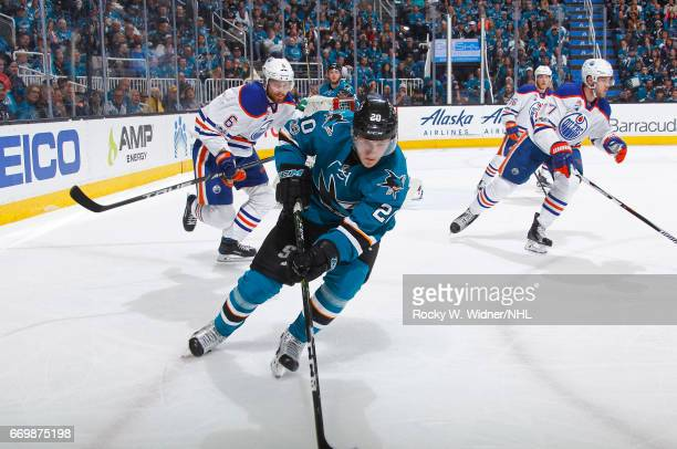 Marcus Sorensen of the San Jose Sharks skates against Adam Larsson of the Edmonton Oilers in Game Three of the Western Conference First Round during...