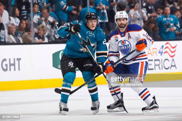 Marcus Sorensen of the San Jose Sharks skates against Jordan Eberie of the Edmonton Oilers in Game Four of the Western Conference First Round during...