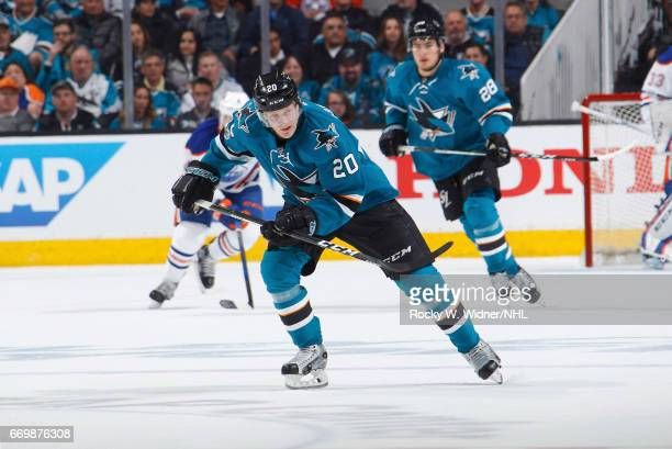 Marcus Sorensen of the San Jose Sharks skates against the Edmonton Oilers in Game Three of the Western Conference First Round during the 2017 NHL...
