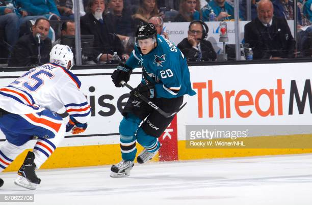 Marcus Sorensen of the San Jose Sharks skates against the Edmonton Oilers in Game Four of the Western Conference First Round during the 2017 NHL...