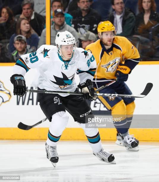 Marcus Sorensen of the San Jose Sharks skates against the Nashville Predators during an NHL game at Bridgestone Arena on March 25 2017 in Nashville...