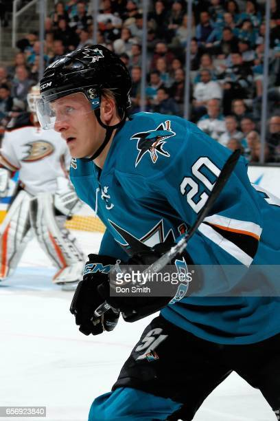 Marcus Sorensen of the San Jose Sharks skates during a NHL game against the [[OppTeam]] at SAP Center at San Jose on March 18 2017 in San Jose...