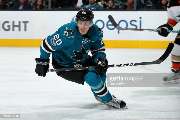 Marcus Sorensen of the San Jose Sharks skates during a NHL game against the Anaheim Ducks at SAP Center at San Jose on March 18 2017 in San Jose...