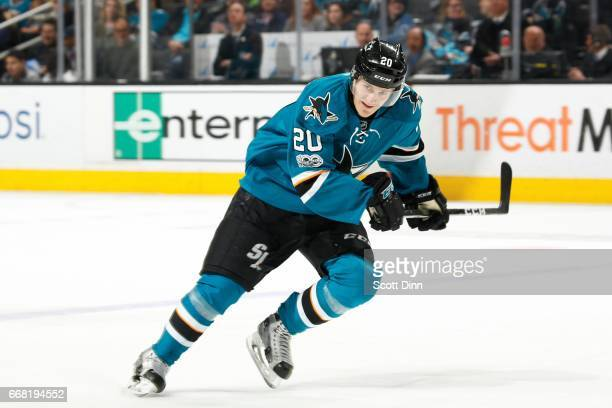 Marcus Sorensen of the San Jose Sharks skates during a NHL game against the Calgary Flames at SAP Center at San Jose on April 8 2017 in San Jose...