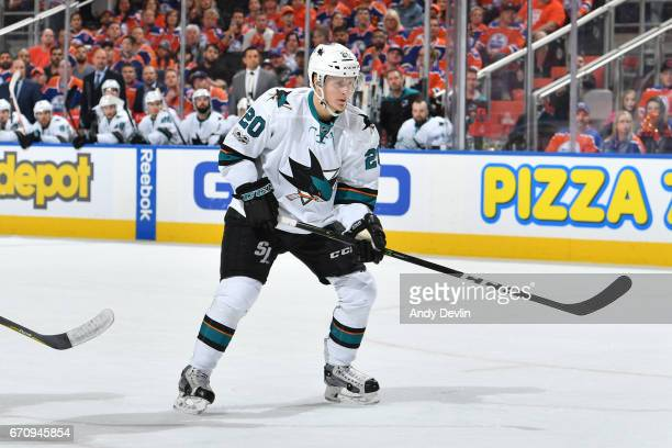 Marcus Sorensen of the San Jose Sharks skates in Game Five of the Western Conference First Round during the 2017 NHL Stanley Cup Playoffs against the...