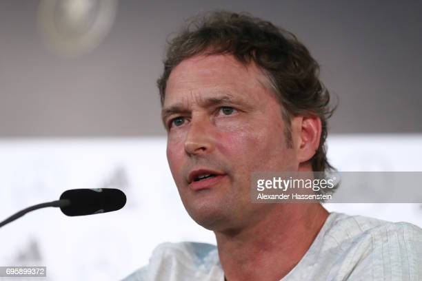 Marcus Sorg assistent coach of the German national team talks to the media during a Germany press conference at DFB Headquater on June 14 2017 in...