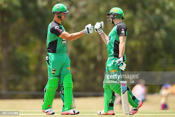 Marcus Stoinis and Luke Wright of the Stars celebrate the 100 run partnership against the Premier All Stars at Casey Fields during Melbourne Stars...