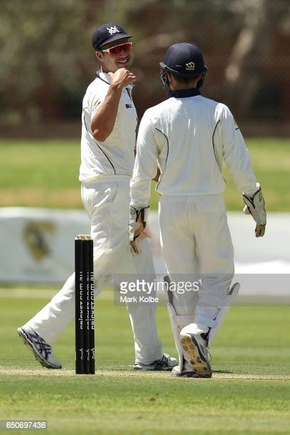 Marcus Stoinis and Seb Gotch of the Bushrangers share a joke during the Sheffield Shield match between Victoria and Western Australia at Traeger Park...
