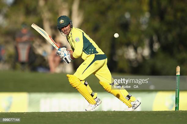 Marcus Stoinis of Australia A bats during the Cricket Australia Winter Series Final match between India A and Australia A at Harrup Park on September...