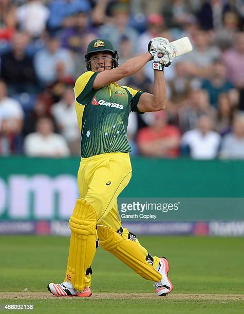 Marcus Stoinis of Australia bats during the NatWest T20 International match between England and Australia at SWALEC Stadium on August 31 2015 in...