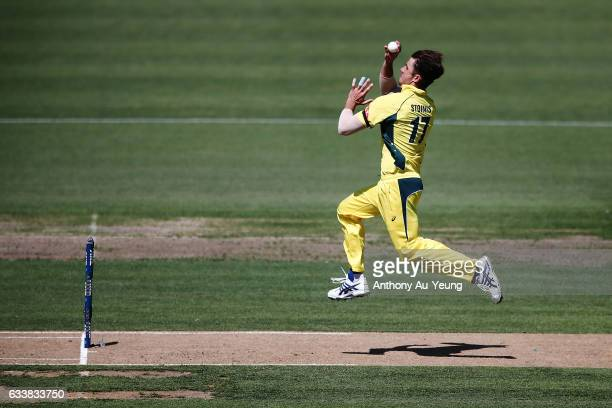 Marcus Stoinis of Australia bowls during game three of the One Day International series between New Zealand and Australia at Seddon Park on February...
