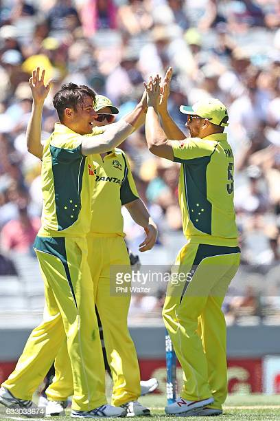 Marcus Stoinis of Australia celebrates his wicket of Colin Munro of New Zealand during the first One Day International game between New Zealand and...