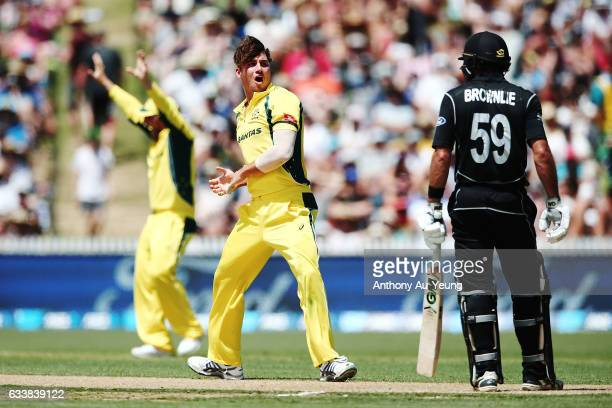 Marcus Stoinis of Australia reacts to an unsuccessful appeal during game three of the One Day International series between New Zealand and Australia...