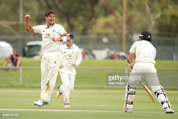 Marcus Stoinis of the Bushrangers celebrates taking the wicket of Michael Klinger of the Warriors during the Sheffield Shield match between Victoria...