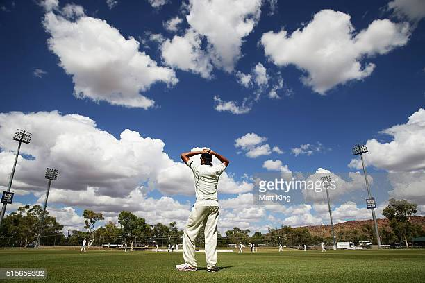 Marcus Stoinis of the Bushrangers fields on the boundary during day one of the Sheffield Shield match between Victoria and New South Wales at Traeger...