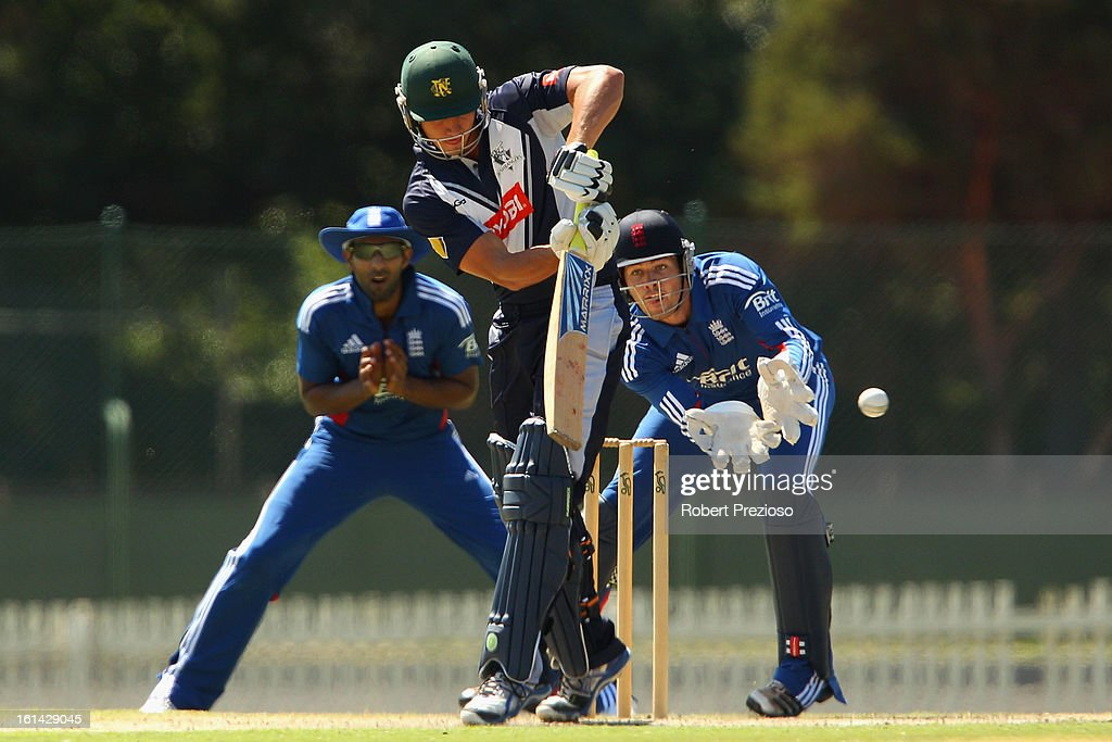 Marcus Stoinis of the Bushrangers plays a shot during the International Tour match between the Victoria Bushrangers and England Lions at Junction Oval on February 11, 2013 in Melbourne, Australia.