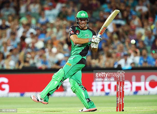 Marcus Stoinis of the Melbourne Stars bats during the Big Bash League match between the Adelaide Strikers and the Melbourne Stars at Adelaide Oval on...