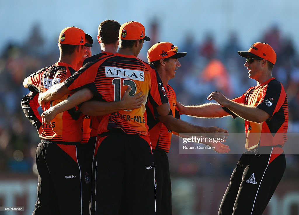 Marcus Stoinis of the Scorchers celebrates taking a catch to dismiss Luke Pomersbach of the Heat during the Big Bash League final match between the Perth Scorchers and the Brisbane Heat at the WACA on January 19, 2013 in Perth, Australia.