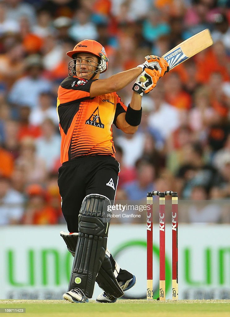 Marcus Stoinis of the Scorchers hits out during the Big Bash League final match between the Perth Scorchers and the Brisbane Heat at the WACA on January 19, 2013 in Perth, Australia.
