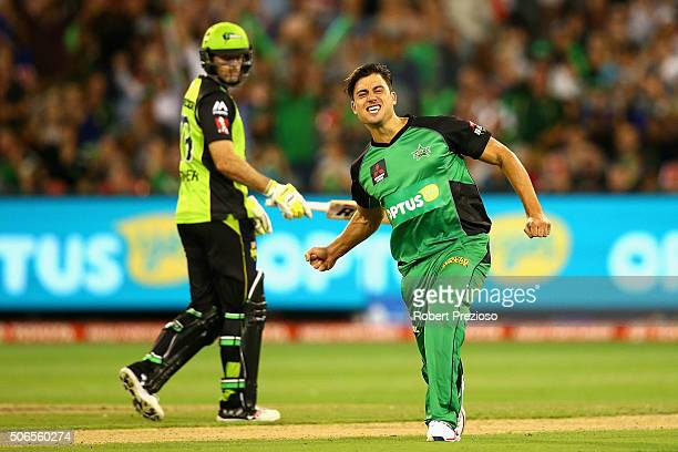 Marcus Stoinis of the Stars celebrates the wicket of Andre Russell of the Thunder during the Big Bash League final match between Melbourne Stars and...