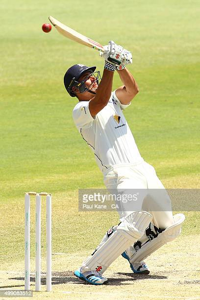 Marcus Stoinis of Victoria bats during day three of the Sheffield Shield match between Western Australia and Victoria at WACA on November 29 2015 in...