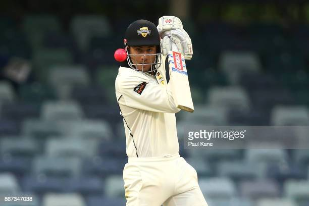 Marcus Stoinis of Western Australia bats during day three of the Sheffield Shield match between Western Australia and Tasmania at the WACA on October...