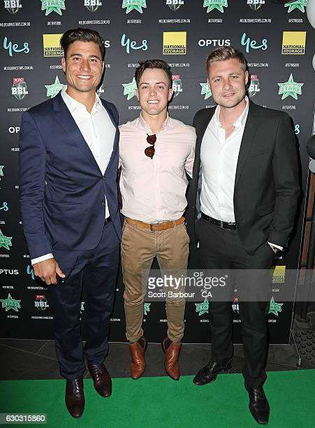 Marcus Stoinis Seb Gotch and Luke Wright attend the Melbourne Stars BBL Season Launch at The Emerson on December 20 2016 in Melbourne Australia